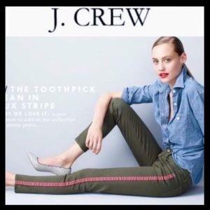 J. Crew Toothpick Jean in Tux Stripe